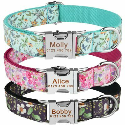 Floral Nylon Dog Collar Personalised Name ID Tags Engraved Pet Puppy Small Large