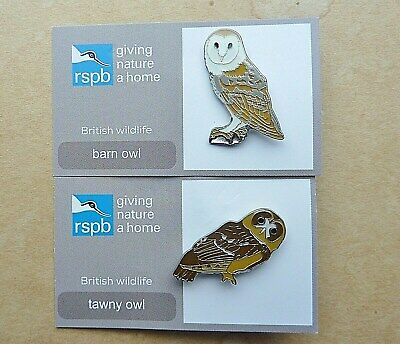 Rspb  Pin  Badge Barn Owl And Tawny Owl  Giving Nature A Home British Wildlife