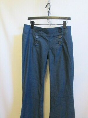 Be Bop Women's Blue Denim Sailor Pants Size 3 New Without Tags