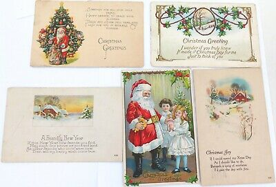 .5 x 1920s AMERICAN USA CHRISTMAS XMAS POSTCARDS.