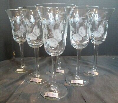 """Vintage Toscany Gray Cut Floral Butterfly 6 Wine Goblets 7 1/2"""" Tall Hand Blown"""
