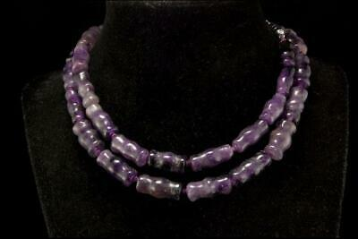Vintage Chinese Carved Amethyst Knucklebone Beads Necklace D114-08