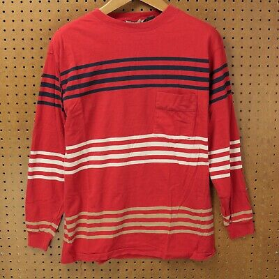 0644ebcc9c vtg 90s usa made pocket t-shirt LARGE surfer stripes vaporwave skater boxy  drape