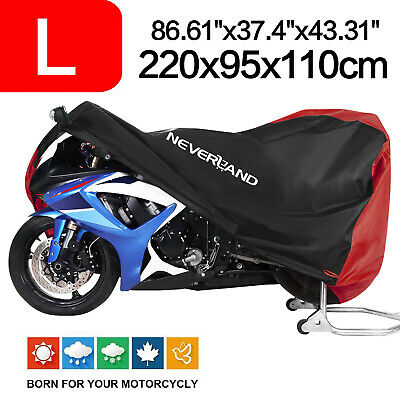 Motorcycle Scooter Cover L Size 210D Waterproof Dust Rain Protection Red&Black
