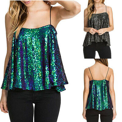 Womens Ladies Sleeveless Sparkly Sequin Spaghetti Strap Party Club Top Shirt CA