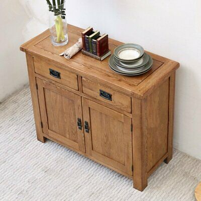 Oak Sideboard Solid Wood Small 2 Door+2 Drawer Storage Cupboard Dining Storage