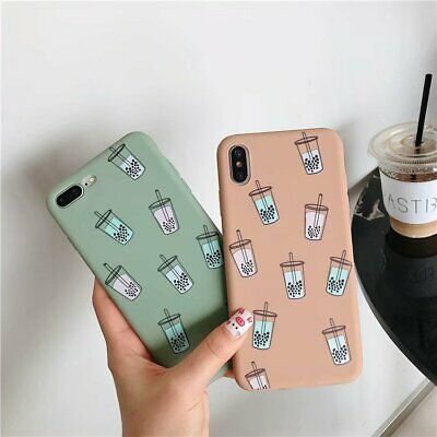 Case Cover For iPhone XS XS MAX XR X 8 7 6 6s Plus Milky Tea Soft Silicone Cover
