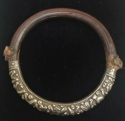 Antique Chinese Sterling Silver Bamboo Rattan Wood Bangle Bracelet