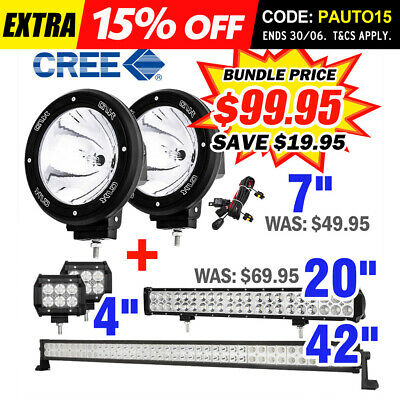 "Pair 7inch 100W HID Driving Light Xenon Spotlight + 42"" 20"" 4"" LED Light Bar 4WD"