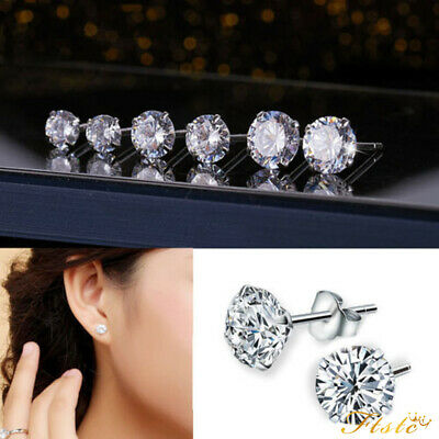 925 Sterling Silver Cubic Zirconia Cz Crystal Gem Round Stud Earrings Mens Women