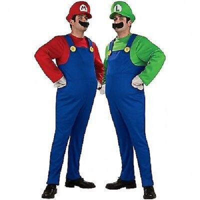 SUPER MARIO and LUIGI BROS PLUMBER ADULT MENS COSTUME + HAT & MOUSTACHE S-L AU