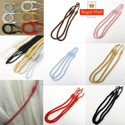 2 Pack Plain Silky Braided Rope Curtain Tie backs Tiebacks Decorative Holdback