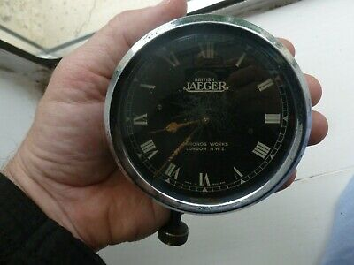VINTAGE BRITISH JAEGER CAR 8 DAY CLOCK FOR VINTAGE CLASSIC CAR serviced working
