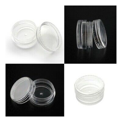 5ML Clear Plastic Empty Cosmetic Sample Pots Art Craft Storage Containers Jars#