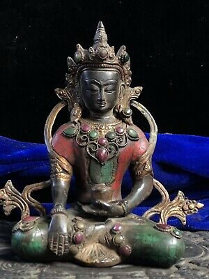 Chinese Tibetan Buddhism temple Collection Old copper inlaid gemstone Green Tara