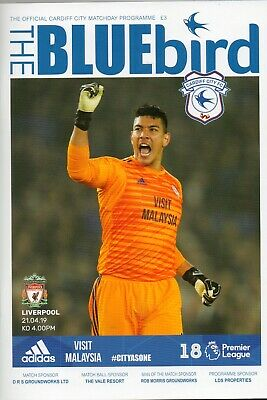 Cardiff City Fc V Liverpool Fc 21/4/2019 Football Matchday Programme