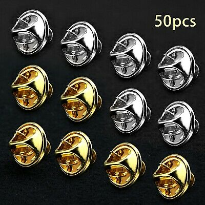 50pcs Silver/ Gold Brass Clutch Pin Backs And Blank Pins Kit For Tie Badge