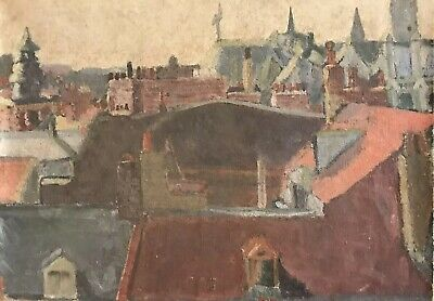 Superb Early 20Th Century French Modernist Oil - View Over City Rooftops