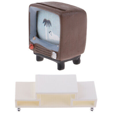 1:12 Mini Retro TV Television with Table Cabinet for Dollhouse Decoration