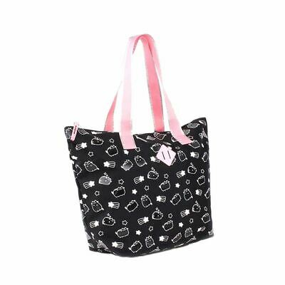 Pusheen Celebrity Black Shopping Tote Bag - Reusable Shopper Beach Travel Pink