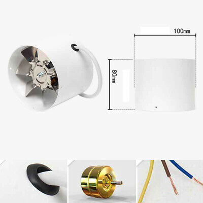 220V 100mm Inline Duct Fan Booster Exhaust Blower Air Cooling Vent Metal Cutter