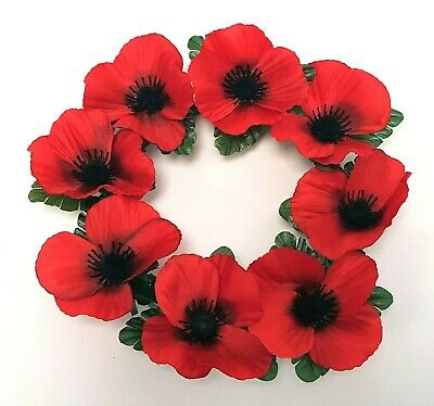 Artificial Red Poppy Wreath - 25cm Diameter with 8 Flowers - Remembrance Day