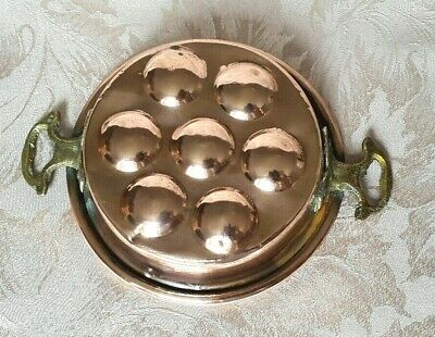Antique, French, Copper And Brass, Escargot / Snail Cooking Pan