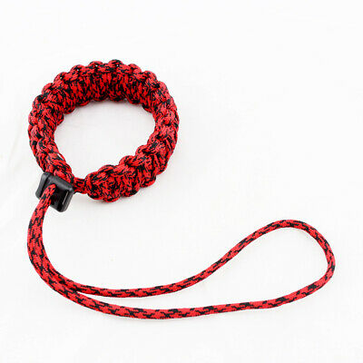 Braided Paracord Adjustable Camera Weave Wrist Strap / Bracelet Black Red