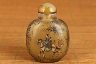 chinese old glass hand painting Shilla sage snuff bottle