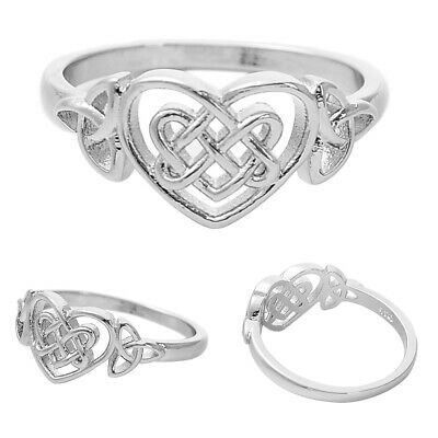 Plated Silver Ring Boruo Celtic Knot Heart Rings Eternity Wedding Band Size 6-10
