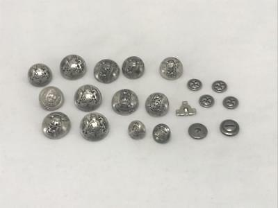 Lot of 20 Vintage Silver-tone Military? Round Buttons Varying Sizes and Designs