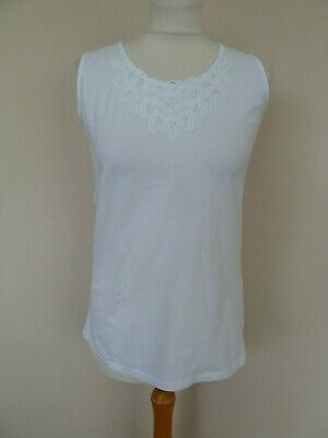 Girls M&S White Cotton Jersey Vest Top Age 14 Years VGC Tapework Trim