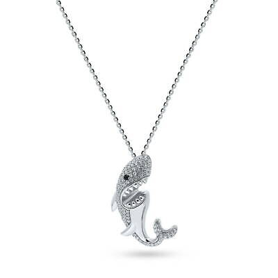BERRICLE Sterling Silver Cubic Zirconia CZ Shark Fashion Pendant Necklace