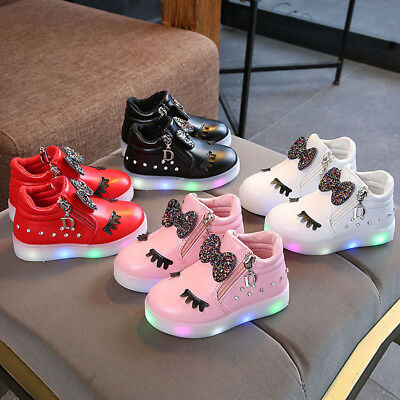 Kids Infant Baby Girls Sport Shoes Crystal Bowknot LED Luminous Boots Sneakers