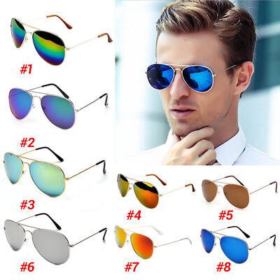 Unisex Women Men Fashion Aviator Mirror Lens Sunglasses Vintage Retro Glasses