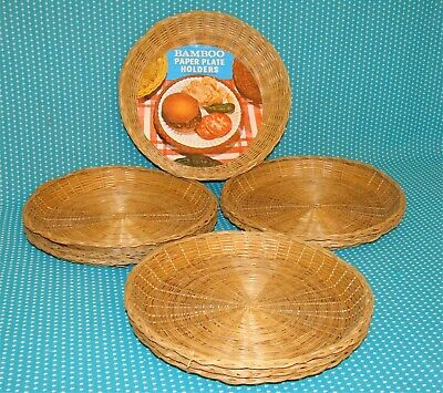 "10 Vtg Bamboo Paper Plate Holders Lot 9"" Wicker Rattan Woven Picnics Party VgC"
