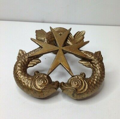 Heavy Vintage Cutajar Brass Door Knocker Showing The Maltese Cross & Two Fishes.