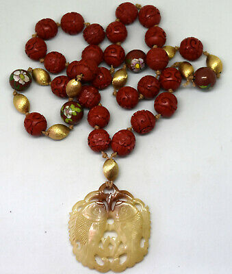 Vintage Chinese Jade Fish, Cinnabar and Cloisonne Brass Beads Necklace