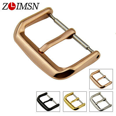 ZLIMSN Stainless Steel Buckle PVD Plated Watch Band Strap Clasp 18mm 20mm 22mm