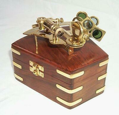 G206: Decorative Mirror Sextant in Classy Wooden Box Brass Polished