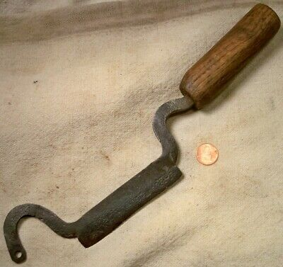 Early Wood Handle Chopper Hand Forged From A File Collectible Old Farm Tool