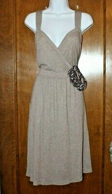 dd2caa476297 DELETTA Anthropologie Brown V-Neck faux wrap Sleeveless Knit Dress Large