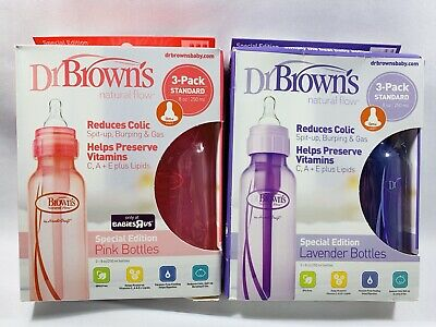 2 - 3Pack Dr. Brown's Natural Flow Options Baby Bottles, (3 - Pink, 3 - Purple)