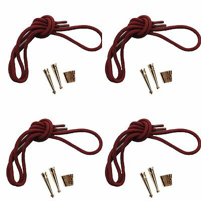 Blank Bolo Tie Kit Round Slide Standard Smooth Tips Maroon Cord Gold Tone for 4