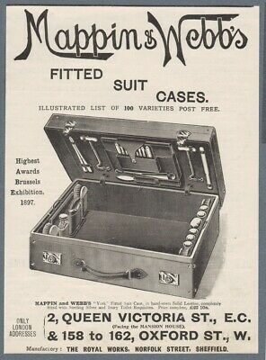 1898 Print Ad Mappin & Webb Leather Case Razors Ivory Silver Toilet Requisites