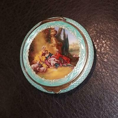 Vintage 1900's Hand Painted Guilloche Enamel Compact