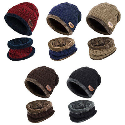 2-Pieces Winter Beanie Hat Scarf Set Warm Knit Thick Fleece Lined For Men Women