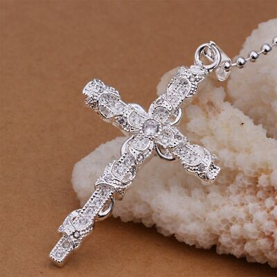 Unisex Cross Necklace Vintage Silver Plated CZ Crystal Cross Necklace 1PC