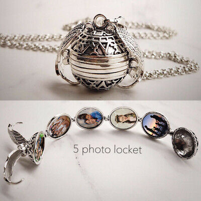 "Angel Wing Photo Pendant Expanding Picture Locket 18"" Necklace Silver & Bag UK"