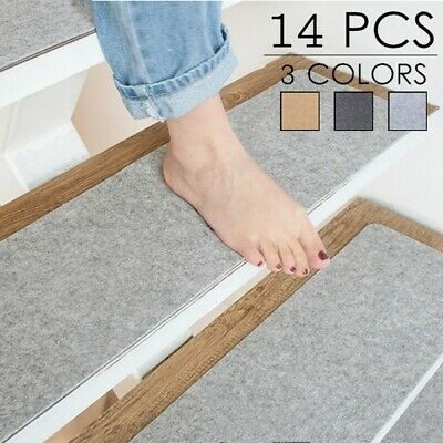 14PCS Stair Tread Carpet Mats Step Non-Slip Staircase Mat Protection Cover Pads